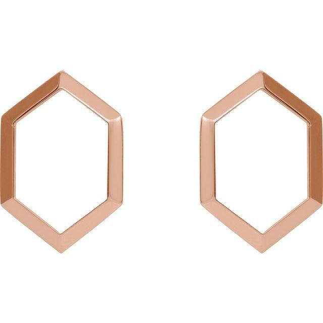 14K Rose Geometric Drop Earrings