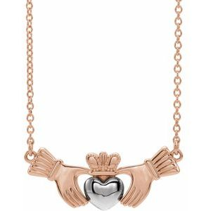 "14K Rose/White Claddagh 16"" Necklace"