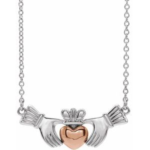 "14K White/Rose Claddagh 16"" Necklace"