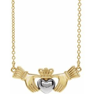 "14K Yellow/White Claddagh 16"" Necklace"