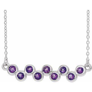 "Sterling Silver Amethyst Bezel-Set Bar 16-18"" Necklace"