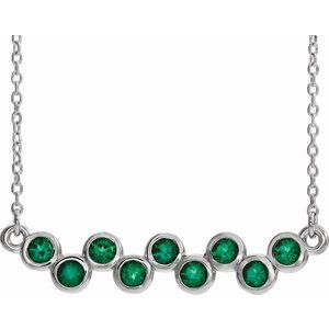 "14K White Emerald Bezel-Set Bar 16-18"" Necklace"
