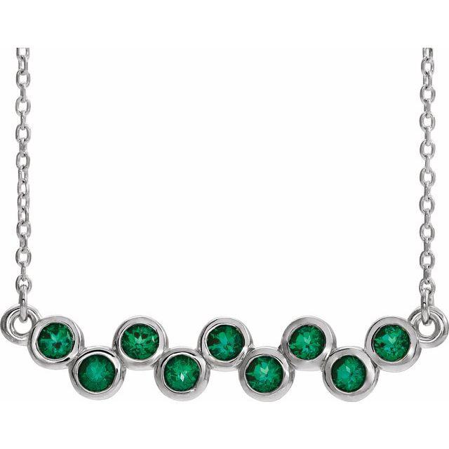 "14K White Emerald Bezel-Set Bar 16-18"" Necklace"