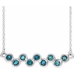 """14K White Aquamarine Bezel-Set Bar 16-18"""" Necklace"""