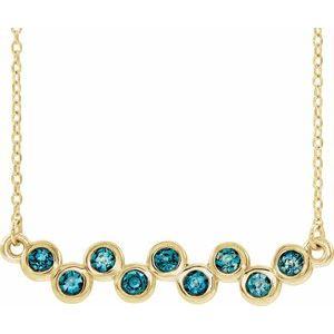 """14K Yellow Aquamarine Bezel-Set Bar 16-18"""" Necklace"""