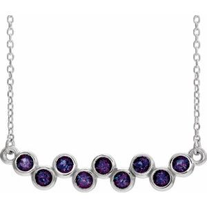 "14K White Lab-Grown Alexandrite Bezel-Set Bar 16-18"" Necklace"