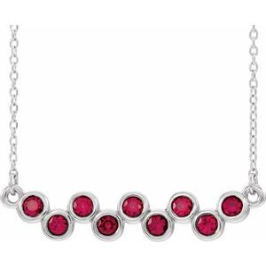 "14K White Lab-Grown Ruby Bezel-Set Bar 16-18"" Necklace"
