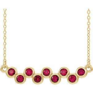 "14K Yellow Chatham® Created Ruby Bezel-Set Bar 16-18"" Necklace"