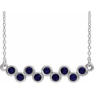 "14K White Chatham® Created Blue Sapphire Bezel-Set Bar 16-18"" Necklace"