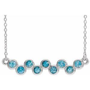 "14K White Blue Zircon Bezel-Set Bar 16-18"" Necklace"