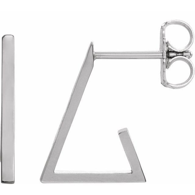 14K White Triangle Hoop Earrings