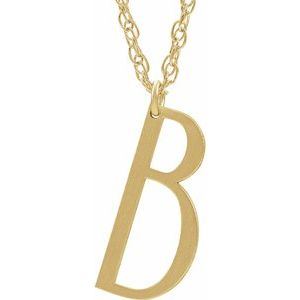 """14K Yellow Gold-Plated Sterling Silver Block Initial B 16-18"""" Necklace with Brush Finish"""