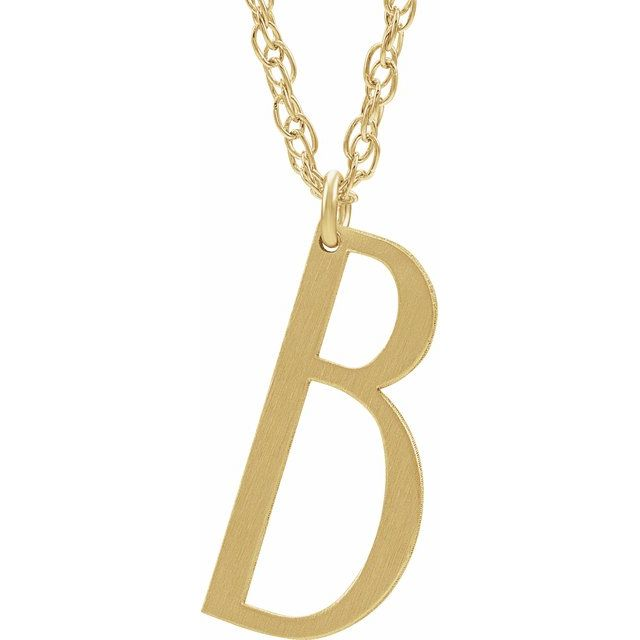 14K Yellow Gold-Plated Sterling Silver Block Initial B 16-18