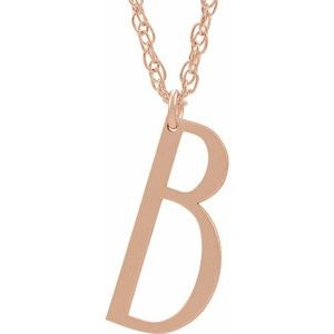"14K Rose Block Initial B 16-18"" Necklace with Brush Finish"