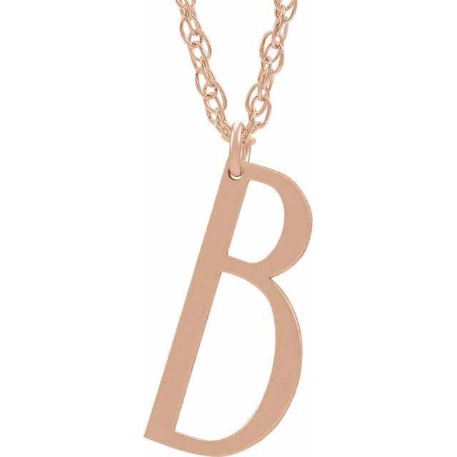 14K Rose Gold-Plated Sterling Silver Block Initial B 16-18