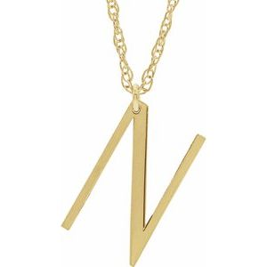 """14K Yellow Block Initial N 16-18"""" Necklace with Brush Finish"""