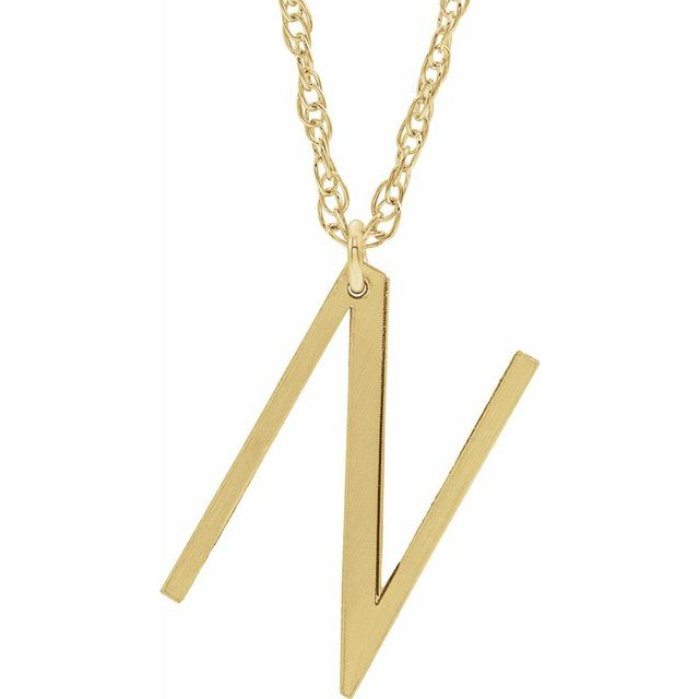14K Yellow Gold-Plated Sterling Silver Block Initial N 16-18