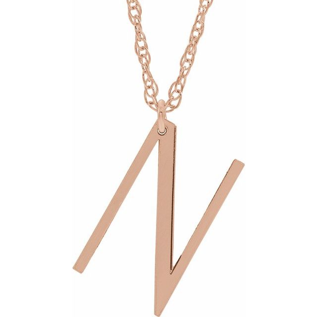 """14K Rose Block Initial N 16-18"""" Necklace with Brush Finish"""
