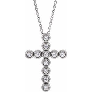 "14K White 1/4 CTW Diamond Cross 16-18"" Necklace"