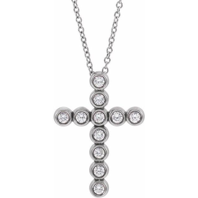 14K White 1/4 CTW Diamond Cross 16-18