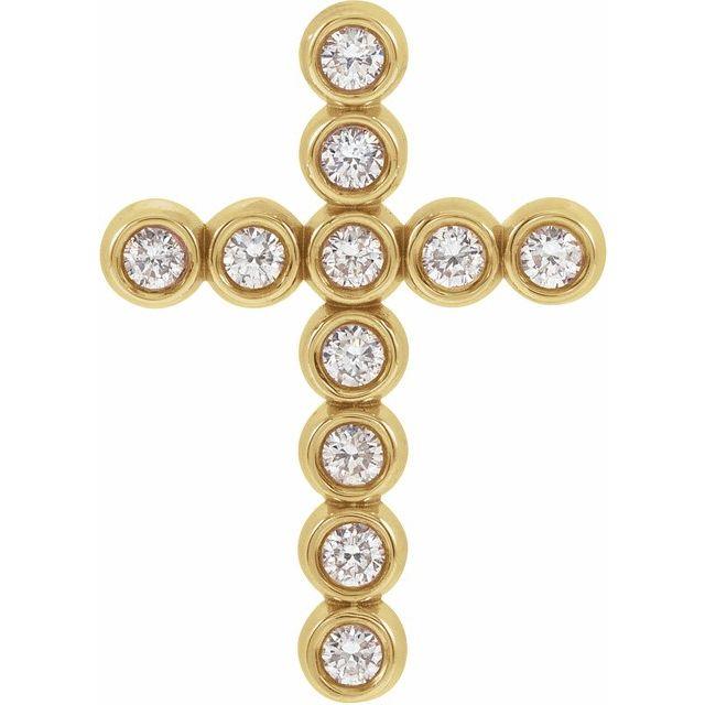14K Yellow 1/4 CTW Diamond Cross Pendant