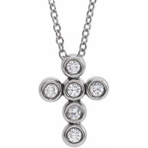 "14K White 1/6 CTW Diamond Cross 16-18"" Necklace"