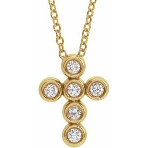 "14K Yellow 1/6 CTW Diamond Cross 16-18"" Necklace"