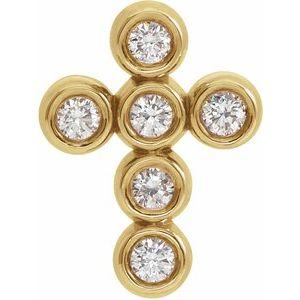 14K Yellow 1/6 CTW Diamond Cross Pendant