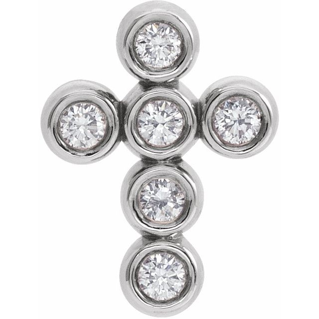 14K White 1/6 CTW Diamond Cross Pendant