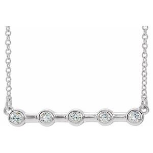 "14K White 1/6 CTW Diamond Bezel-Set Bar 18"" Necklace"