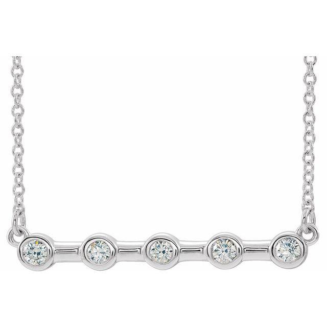 14K White 1/6 CTW Diamond Bezel-Set Bar 16