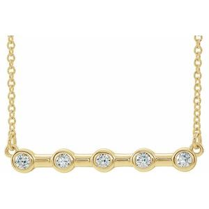 "14K Yellow 1/6 CTW Diamond Bezel-Set Bar 16""  Necklace"