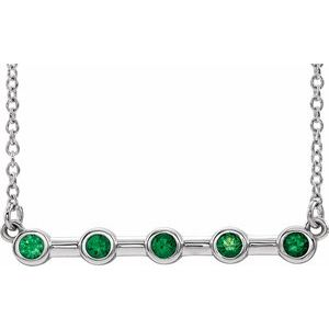 "14K White Chatham® Lab-Created Emerald Bar 16"" Necklace"