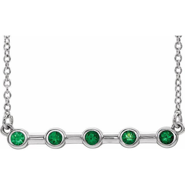14K White Chatham® Lab-Created Emerald Bar 16