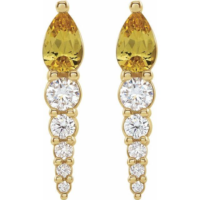 14K Yellow Citrine & 1/4 CTW Diamond Earrings