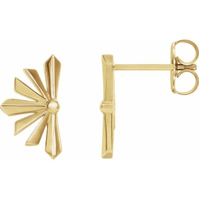 14K Yellow Starburst Earrings