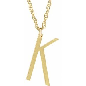 "14K Yellow Gold-Plated Sterling Silver Block Initial K 16-18"" Necklace with Brush Finish"