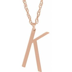 "14K Rose Block Initial K 16-18"" Necklace with Brush Finish"