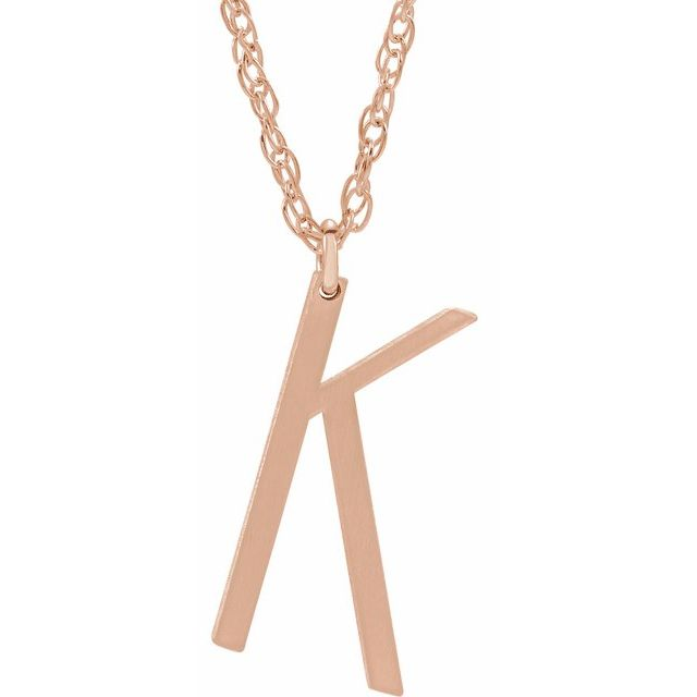 14K Rose Gold-Plated Sterling Silver Block Initial K 16-18