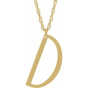 "14K Yellow Block Initial D 16-18"" Necklace with Brush Finish"