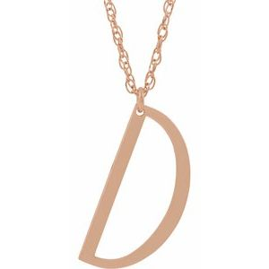 "14K Rose Block Initial D 16-18"" Necklace with Brush Finish"