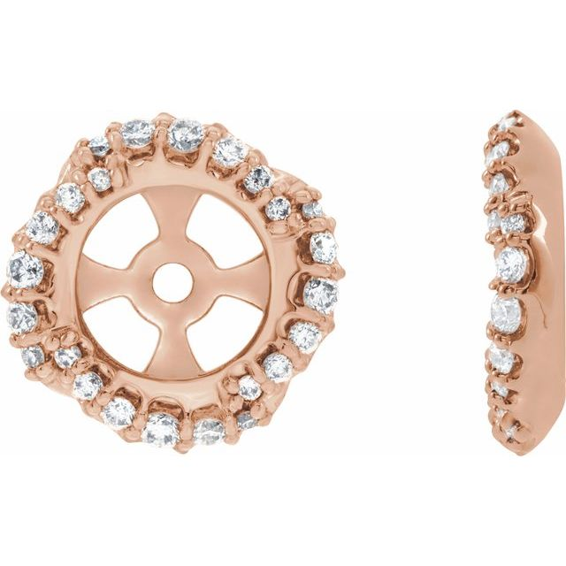 14K Rose 1/4 CTW Diamond Halo-Style Earring Jackets with 5.7 mm ID