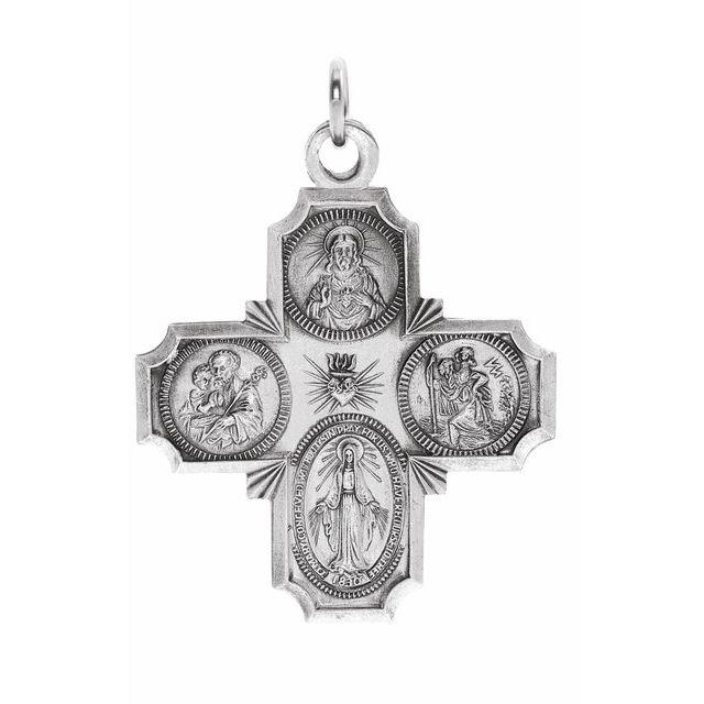 14K White 30x29 mm Four-Way Cross Medal