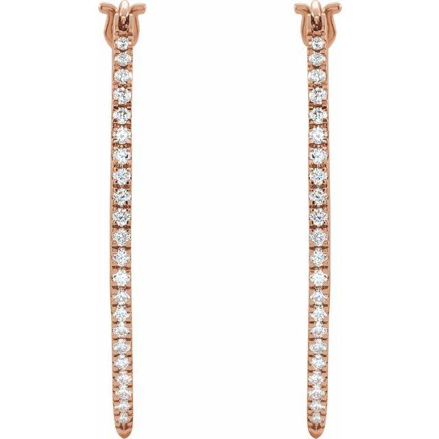 14K Rose 1/2 CTW Diamond Hoop Earrings