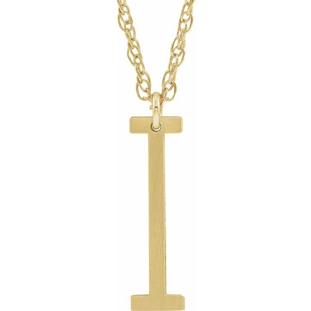 14K Yellow Gold-Plated Sterling Silver Block Initial I 16-18