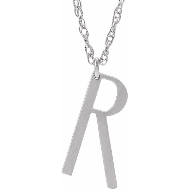 Sterling Silver Block Initial R 16-18
