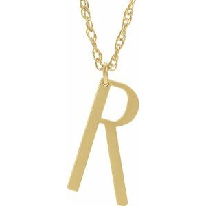 "14K Yellow Block Initial R 16-18"" Necklace with Brush Finish"