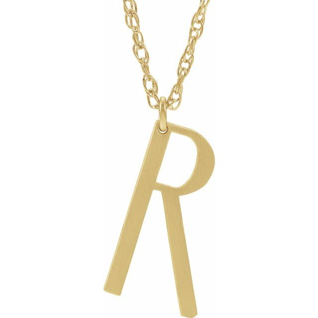 14K Yellow Gold-Plated Sterling Silver Block Initial R 16-18