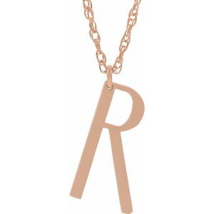 "14K Rose Gold-Plated Sterling Silver Block Initial R 16-18"" Necklace with Brush Finish"