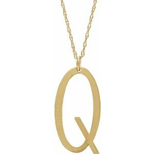"14K Yellow Gold-Plated Sterling Silver Block Initial Q 16-18"" Necklace with Brush Finish"